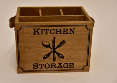 "Bestekhouder ""Kitchen Storage"" Hout/Leder"