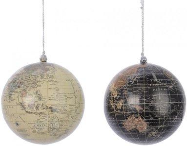 Kerstbal |  Globe zwart of wit 10 cm