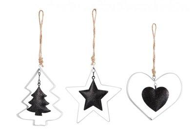 kerstboom hanger zwart wit