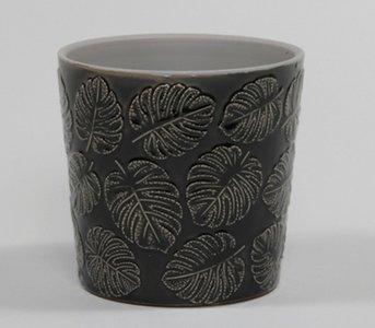 Bloempot Zwart met blad 13,5 cm