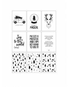 kerstdecoratie Kerst slinger wit met 9 kaarten  Mooie kerstslinger bestaande uit 9 verschillende A6 witte kaarten (3 q