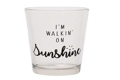 Waxinelichthouder -I'm walkin on sunshine-