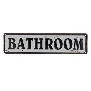 Tekstbord Bathroom zwart wit metaal