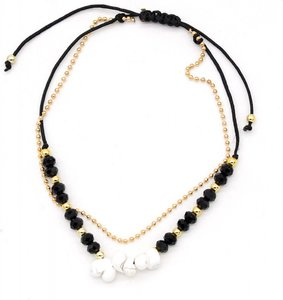 Enkelbandje Zwart/Wit Beads