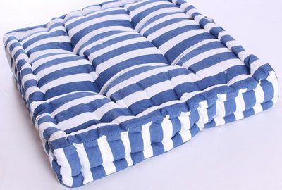 Tuinstoelkussens Set 2 stuks Streep Blauw/Wit