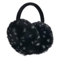 oorwarmers zwart met witte stippen imitatie bont