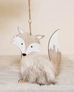 Kerst-hanger | Vos metFaux Fur   Afmeting: 14 cm  Materiaal: hout